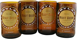 product image for Tumblers Drinking Glasses Made From Recycled Soda Bottles 8 Oz - set of 4 (Root Beer)