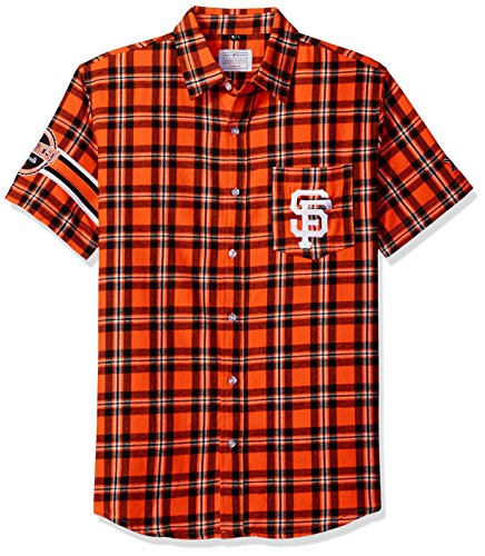 KLEW MLB San Francisco Giants Wordmark Flannel Short Sleeve Button-Up Shirt, BLACK, Large