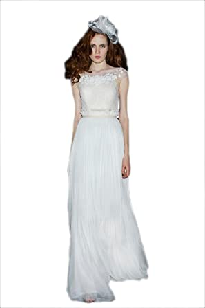 KOOLEE White Banquet V Back Evening Dresses Chiffon Floral Appliques Prom Gown (S)