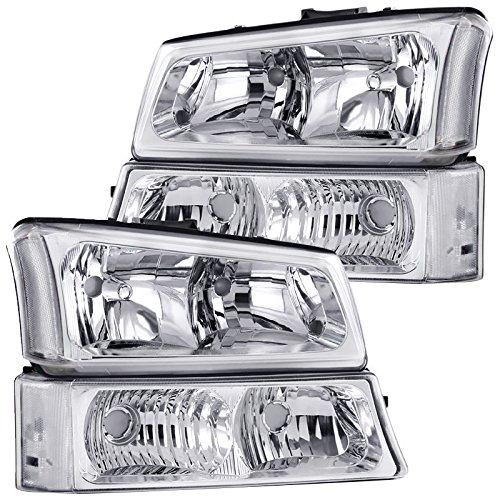 Chrome Clear Headlight Assembly (2003-2006 Chevy Silverado 1500 2500 3500 Headlight Replacement and Bumper Signal lamps Assembly (CHROME CLEAR.))