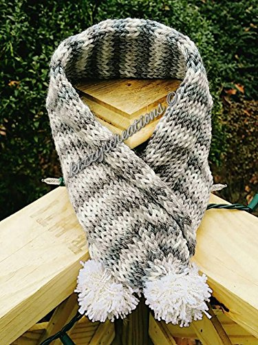 Amazon Com Hand Knitted Dog Scarf With Pom Poms Handmade