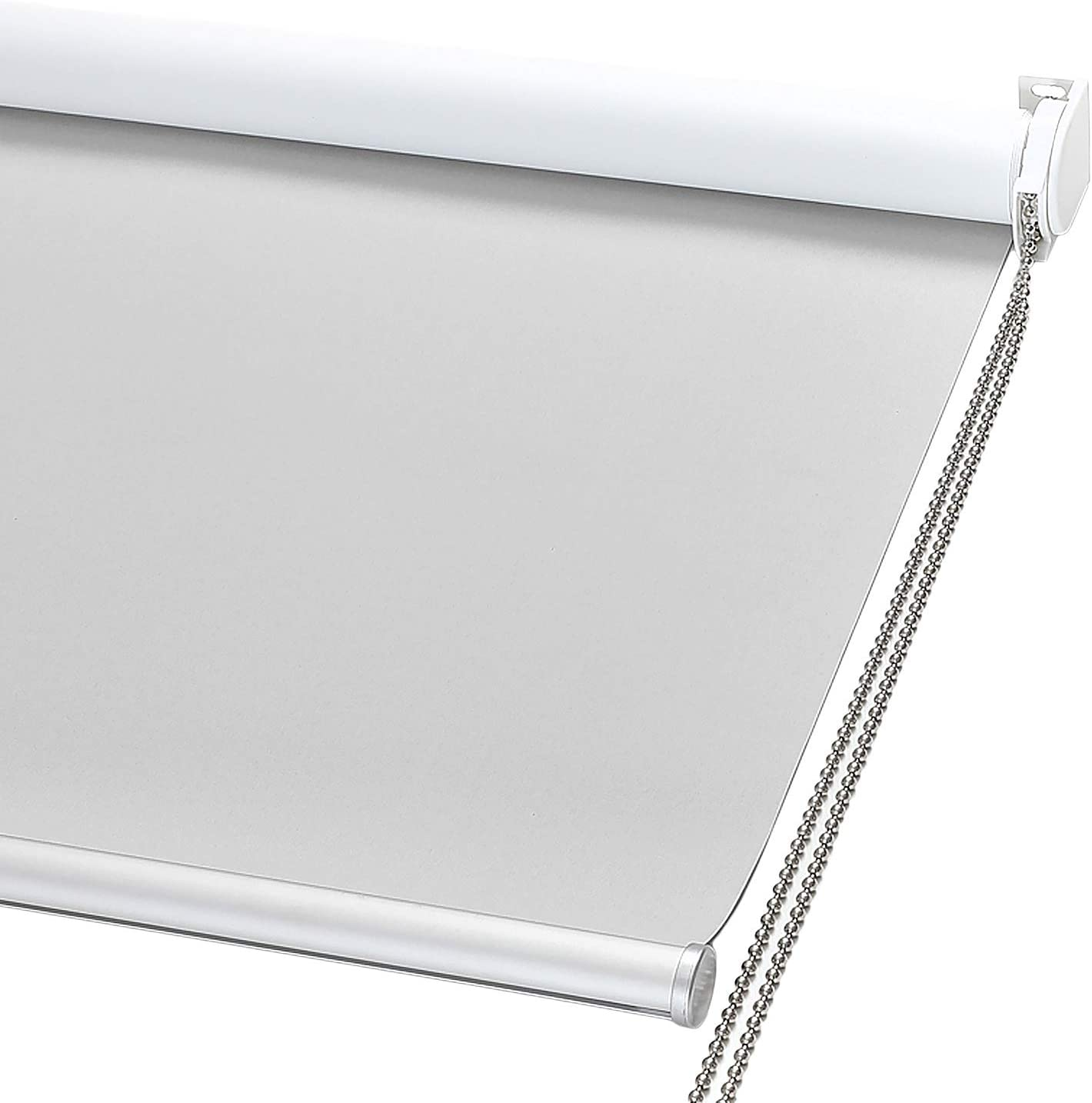 "ChrisDowa 100% Blackout Roller Shade, Window Blind with Thermal Insulated, UV Protection Fabric. Total Blackout Roller Blind for Office and Home. Easy to Install (28"" W x 72"" H, Light Grey)"