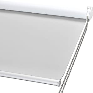 """ChrisDowa 100% Blackout Roller Shade, Window Blind with Thermal Insulated, UV Protection Fabric. Total Blackout Roller Blind for Office and Home. Easy to Install (23"""" W x 72"""" H, Light Grey)"""