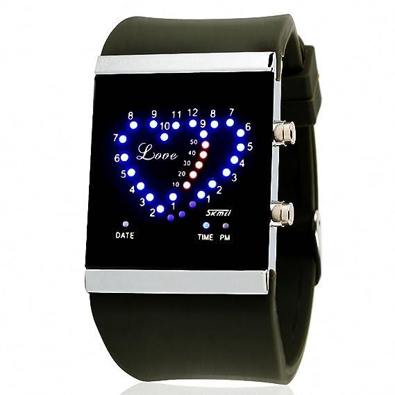 Skmei reloj Digital Unisex Casual Fashion sintética correa de caucho luz nocturna resistente al agua los amantes de la caja de +: SKMEI: Amazon.es: Relojes