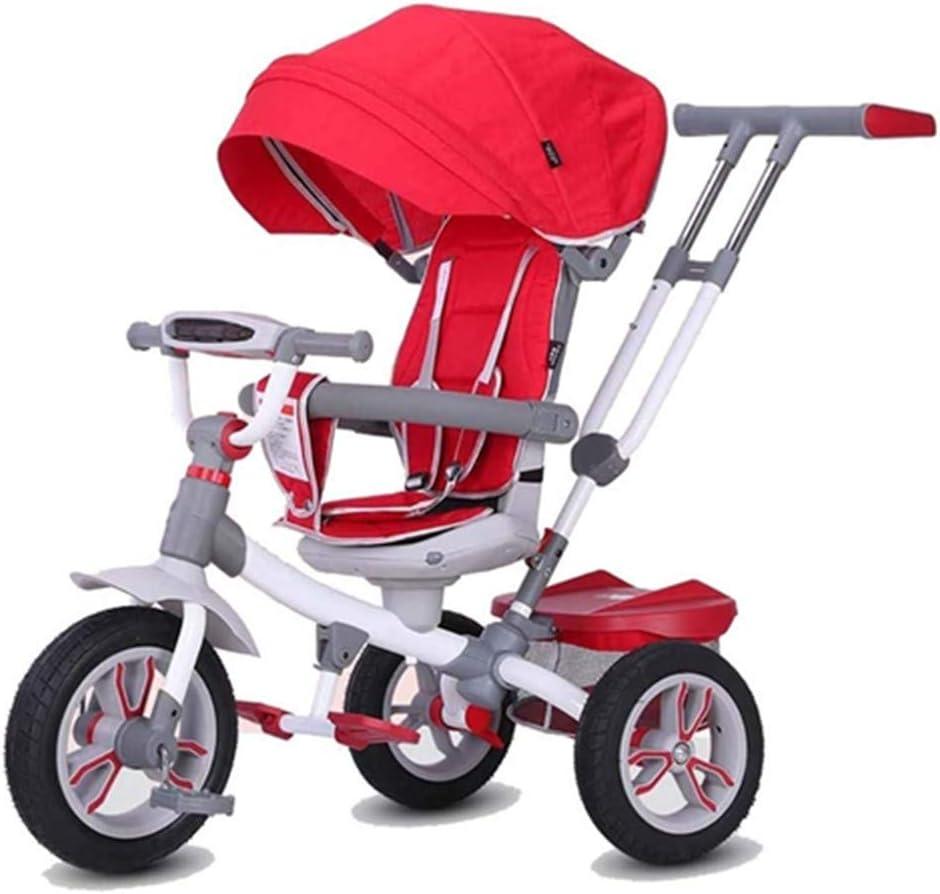 AJH Triciclo Triciclo niño del bebé Bicicleta de Paseo en Bicicleta niño en Bicicleta Multifuncional (Color: Rojo)