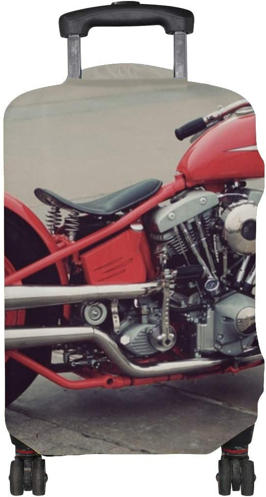 Bobber Vintage Motorcycle Red Pattern Print Travel Luggage Protector Baggage Suitcase Cover Fits 18-21 Inch Luggage