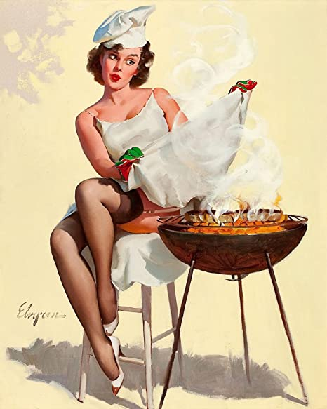 Pin Up Girl Bbq Metal Wall Sign 6x8inches Plaque Vintage Retro