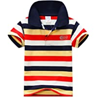 BOBORA Verano Ninos Algodon Ropa Tops t Ninos Manga Corta Camiseta Camisa Rayas 2-7 años