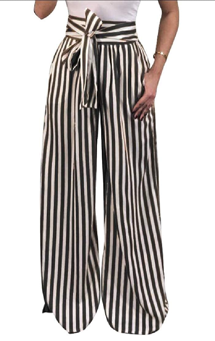 7479e8a49349 Alion Women's Casual Belt Striped High Waisted Wide Leg Long Palazzo Pants  at Amazon Women's Clothing store: