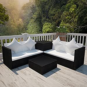 Outdoor Rattan Wicker Sofa Patio Sectional Couch Deck Furniture w/Storage, Black