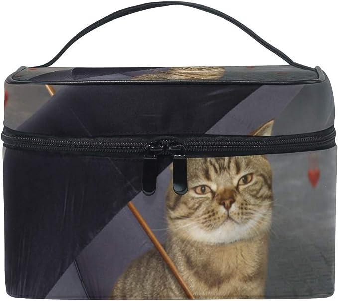 Lustige Kosmetiktasche Mit Katze Und Regenschirm Reise Make Up Tasche Organizer Für Frauen Und Mädchen Kulturbeutel Tragbare Aufbewahrung Kosmetiktasche Canvas Amazon De Koffer Rucksäcke Taschen