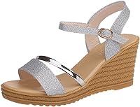 Sandalias Mujer Verano 2019 con Plataforma - Lentejuelas Zapatos de Cuña - con Altas Tacon 8 CM - Talla 35-39 - para Playa Fiesta