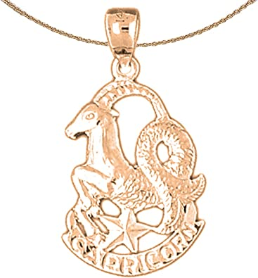 Jewels Obsession Zodiac 14K Rose Gold-plated 925 Silver Zodiac Capricorn Necklace Capricorn Pendant with 16 Necklace