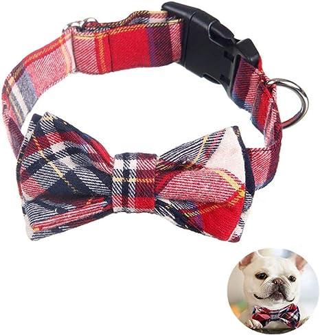Yih Vane Collar de Corbata de Lazo de Perro Grande a Cuadros ...