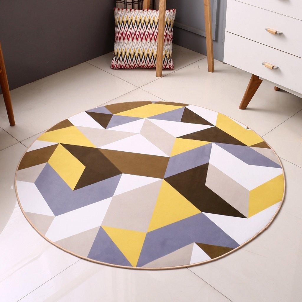 Hyun times Carpet round living room modern minimalist American bedroom study computer chair summer thin mat ( Size : 100cm )