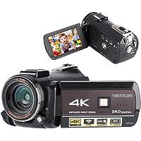 "4K 1080P Full HD Videocámara DV portátil Cámara de video digital 13MP 3.1 ""Pantalla táctil IPS 30X Zoom digital con lente gran angular externa WiFi / APP Control remoto / IR Visión nocturna(Negro)"