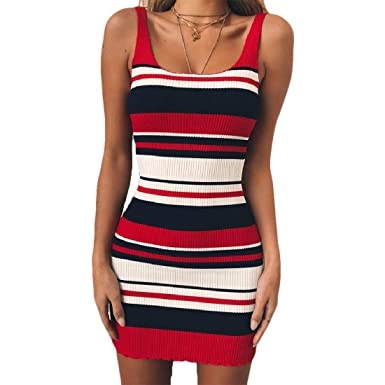f938cc24a9 Comaba Womens Collision Color Tank Slim Fitted Knit Striped Mini Dress at  Amazon Women s Clothing store