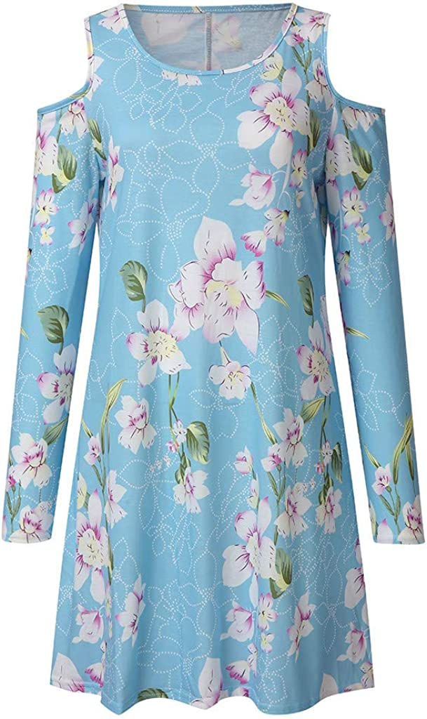 Dresses for Women Flower Print Mid Dress Long Sleeve Wedding Guest Beach Sundress with Pockets