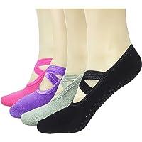 Gripper Pilates Barre Slipper Socks For Women - Elutong 4 Pairs Sticky Non Slip Grips Socks Yoga Ballet Sox
