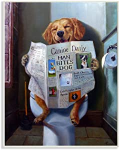 Stupell Industries Dog Reading The Newspaper On Toilet Funny Painting Wall Plaque, 13 x 19, Design by Artist Lucia Heffernan