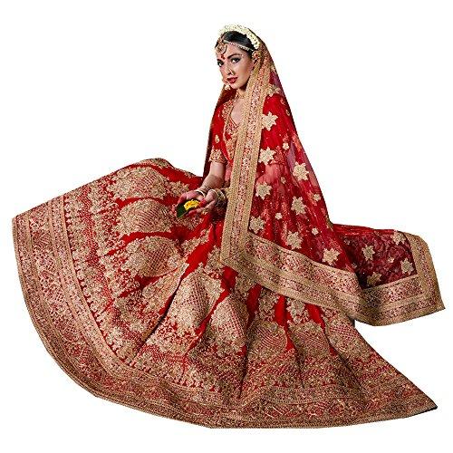 PCC Womens Velvet Fabric Red Pretty Unstitched Lehenga Choli 83739