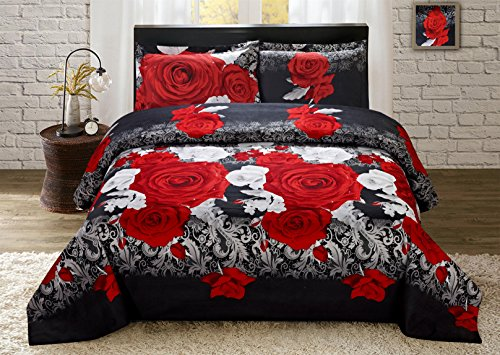 Price comparison product image Luxurious 3D Bed Sheet Set Wild Life Animals,Flowers and Scenery Print Red and White Roses in Queen King Size (King, PROMISE-Y31)