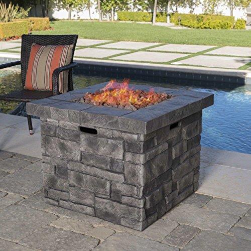 Angeleno Outdoor Grey Square Fire Pit - 40,000 BTU