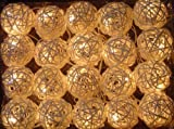 White handcraft Set of 20 Rattan Bulbs in Candy Colors Plug-in Decoration Light. Holiday Lighting