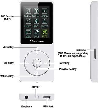 Lychee 8gb Mp3 Player 70 Stunden Wiedergabe Unterstützt Elektronik