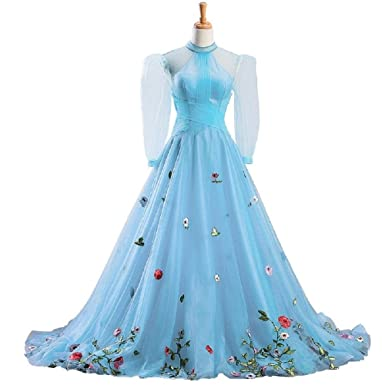 Sky-Blue Self-Cultivation Collar Long Sleeves Wedding Dress Small ...