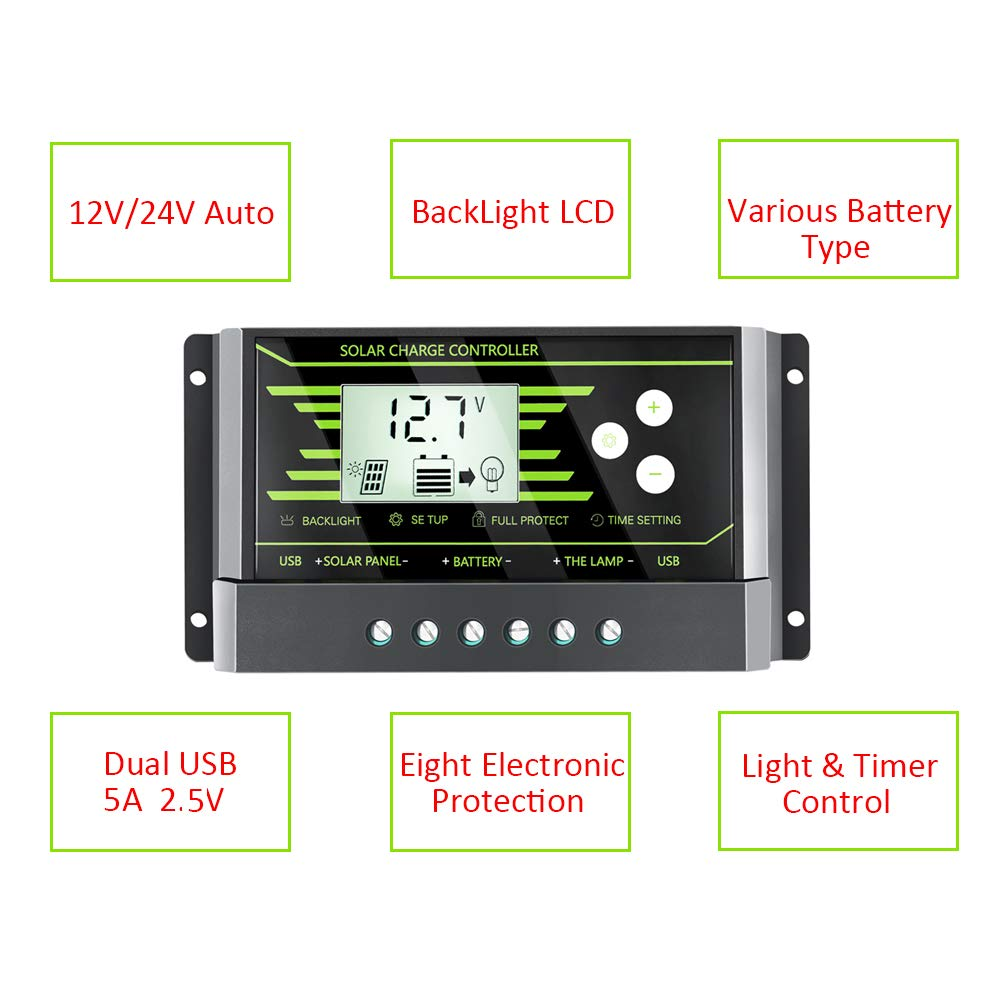 Powmr 10a Solar Charge Controller Dual Usb Panel Pwm 12v24v Automatic Art Of Circuits Battery Regulator Adjustable Paremeter Backlight Lcd Display And