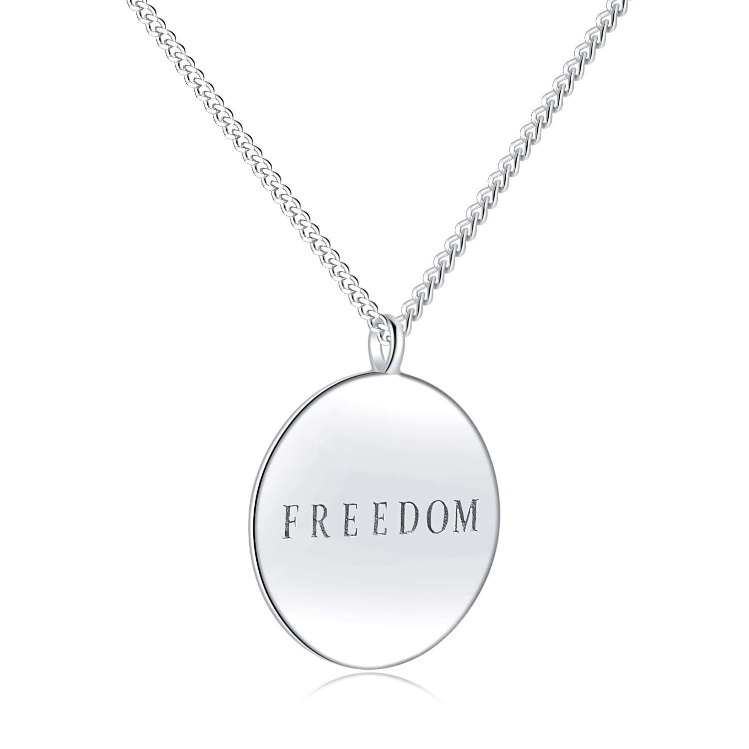 Victoria Jewelry Necklace for Women, Dainty Freeddom Circle Pendant Gift for Wife, Mom, Girlfriend, Bestfriend