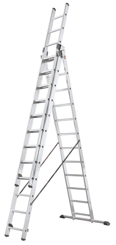 WORHAN/® 5.6m Escalera Doble Telescopica Multiuso Multifuncional Plegable Tijera Aluminio Generaci/ón Calidad Alta K5.6