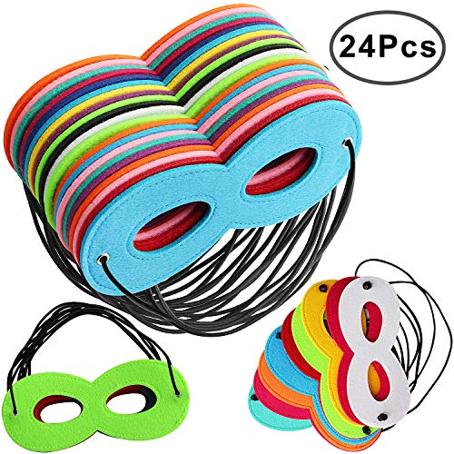 Outee 24 Pcs Masks for Superhero Cosplay Party Favors Eyemasks for Kids Adults with Rope -