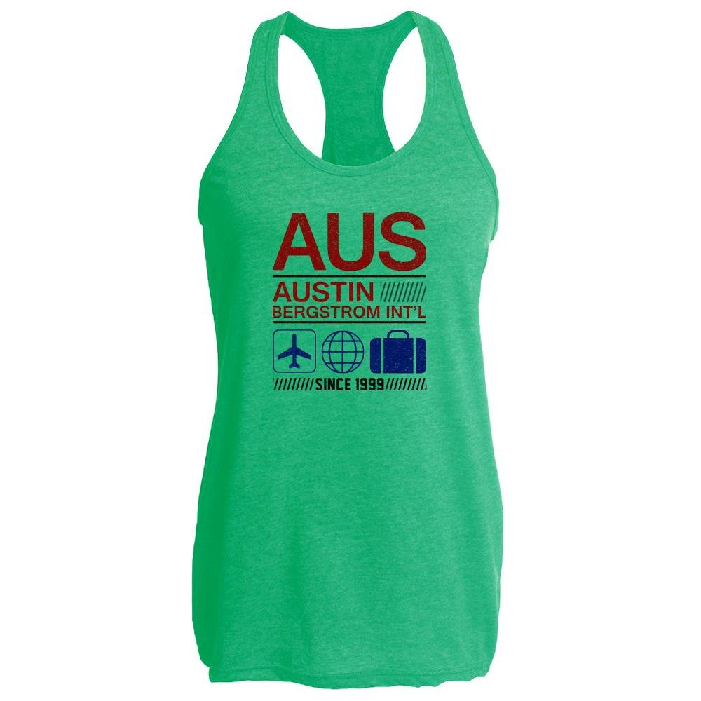 Pop Threads AUS Austin Airport Code Since 1999 Travel Heather Kelly M Womens Tank Top