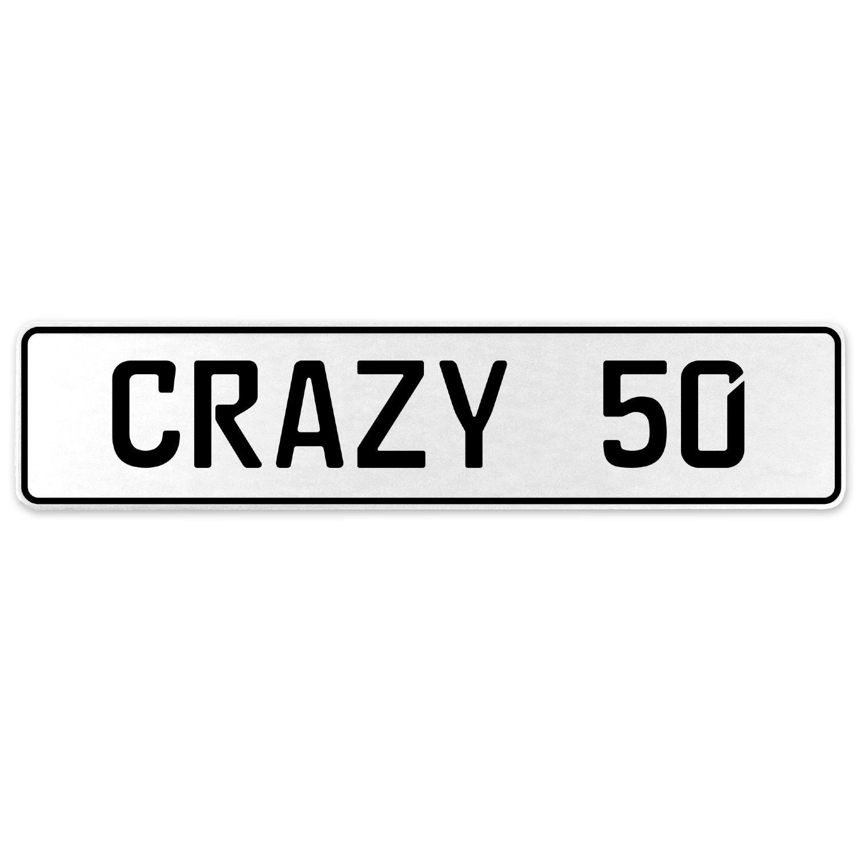 Vintage Parts 555637 Crazy 50 White Stamped Aluminum European License Plate