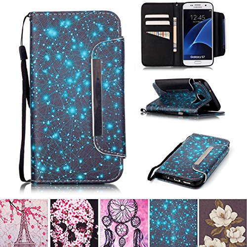 Galaxy S7 Case, Kickstand Card Slots Cash Holder Dual Layer Impact Resistant Case Cover with Wrist Strap Magnetic Snap Closure for Samsung Galaxy S7- Starry (Phone Samsung Edg)