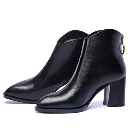 d72018ad5fd Autumn and Winter Pointed High Heel Leather Ankle Boots Thick and  Fashionable Temperament Side Zipper Leather