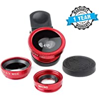 TechSky Universal Clip 3 in 1 HD Fisheye Lens + Super Wide Angle Lens+ Macro Lens Camera Outstanding Outdoors Photography Compatible with All Smartphones