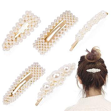 Amazon Com Jaciya Pearl Hair Clip Pins Decorative 5 Pack
