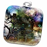 3dRose Dream Essence Designs Paranormal - A spooky collage of an old haunted house, graveyard, black cat and more - 8x8 Potholder (phl_11652_1)