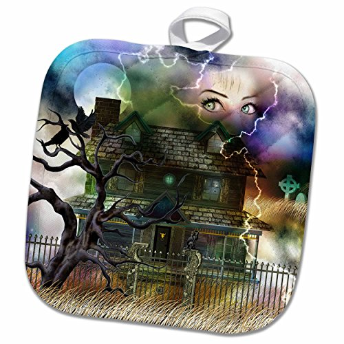 3dRose Dream Essence Designs Paranormal - A spooky collage of an old haunted house, graveyard, black cat and more - 8x8 Potholder (phl_11652_1) by 3dRose