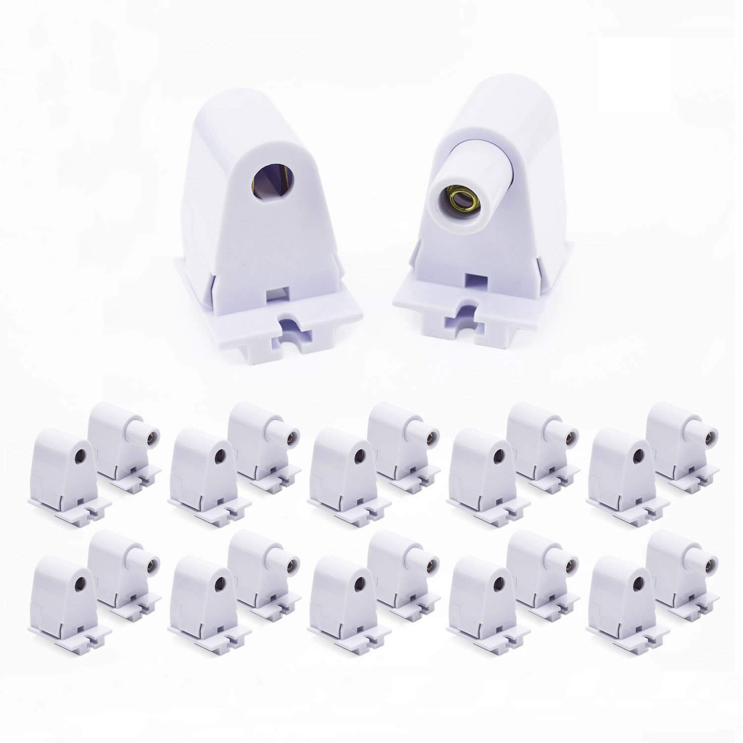 JESLED Single Pin FA8 Tombstone - (10-Pairs) Non-Shunted T8/T10/T12 LED Socket Lampholder Base Holder for 8FT Fluorescent Tube Light, Retrofiting Bulbs Fixtures, Flameresistant Plunger, UL Listed