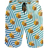 WIHVE Mens Beach Swim Trunks Colorful Peacock Feather Boxer Swimsuit Underwear Board Shorts with Pocket