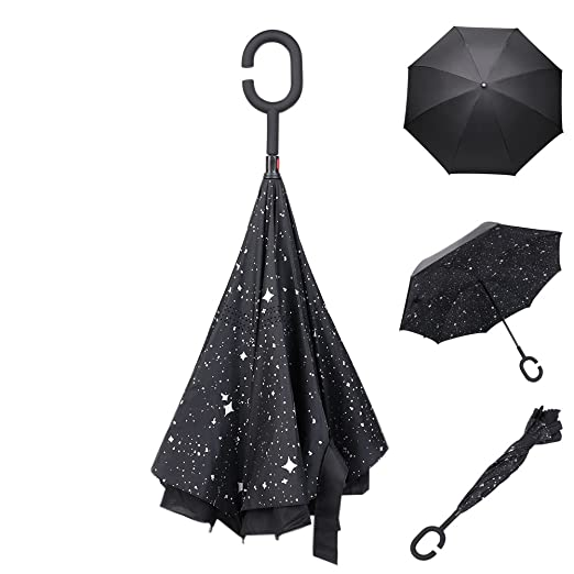 TOPKing Paraguas de Invertido Doble Capa de Doble Cara Azul Cielo Reverso Paraguas Invertido Al aire libre Impermeable lluvia Paraguas (Azul): Amazon.es: ...