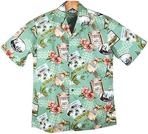 メンズ アロハシャツ 緑地/コーヒー豆柄 Winnie Fashion メイドインハワイ