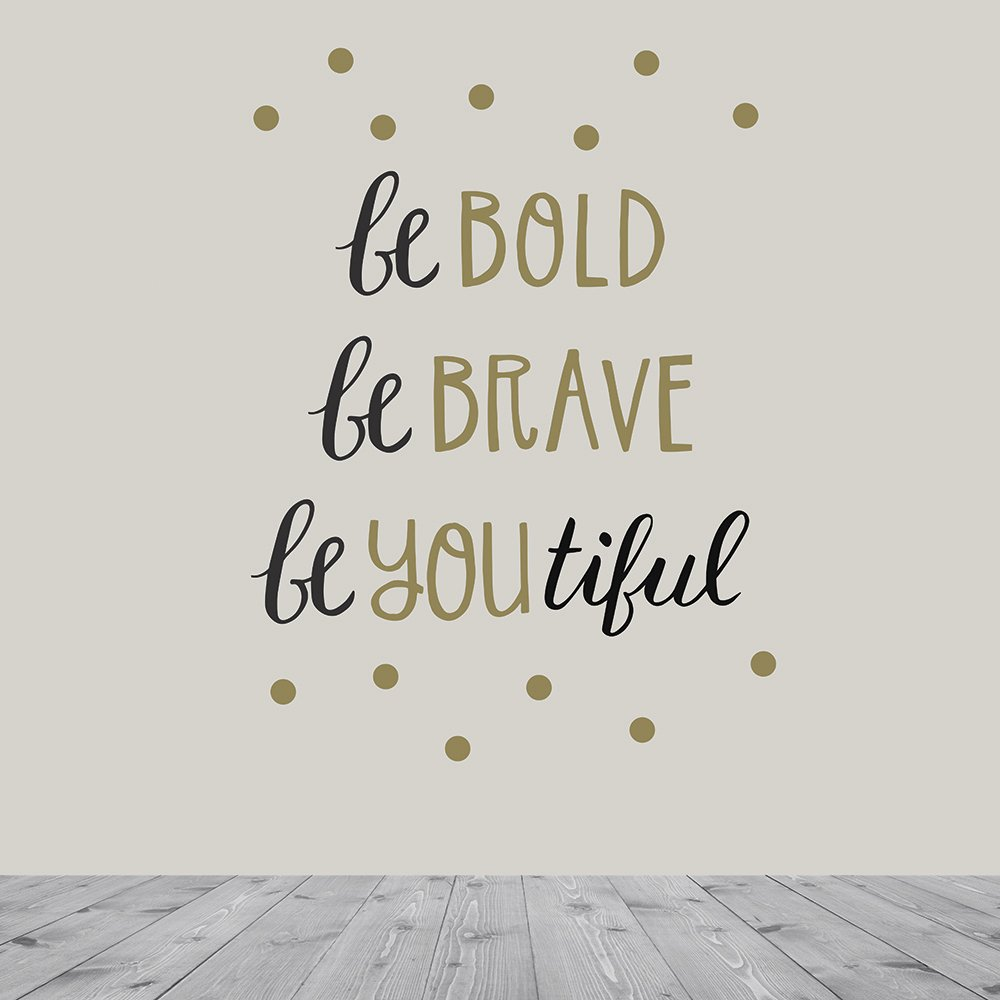 Wall Decals Art Stickers for Inspirational Room Decor | Easy to Peel and Stick + Safe on Painted Walls - Be Bold. Be Brave. BeYoutiful. Twelve 6''x8'' Vinyl Sheets. DIY Decoration | By Paper Riot Co.