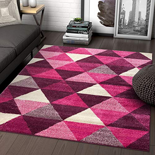 Well Woven Isometry Purple & Pink Modern Geometric Triangle Pattern 5x7 (5' x 7') Area Rug Soft Shed Free Easy to Clean Stain - Rug Purple Geometric