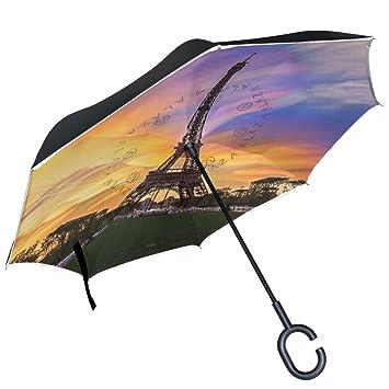 ALAZA atardecer nubes torre Eiffel París Francia Ciudad Dortmund paraguas paraguas plegable de doble capa resistente