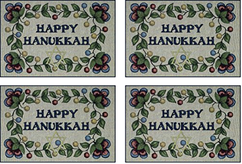 Manual Happy Hanukkah Star of David Woven Backed Tapestry Placemats THANP 18x13 Set of 4 Multi -